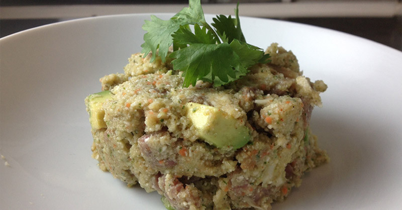 Raw cauliflower couscous with Beef Carpaccio [30 Days in the Raw]   eatnakednow.com